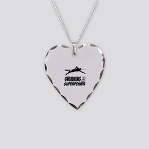 swimming is my superpower Necklace Heart Charm