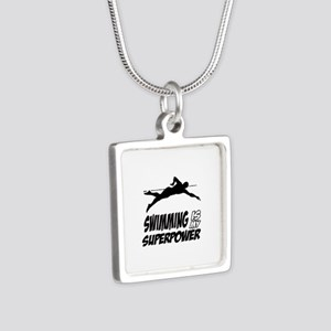 swimming is my superpower Silver Square Necklace