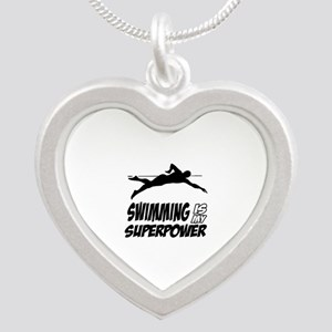 swimming is my superpower Silver Heart Necklace
