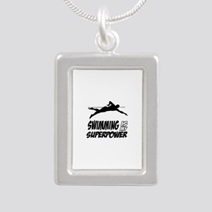 swimming is my superpower Silver Portrait Necklace