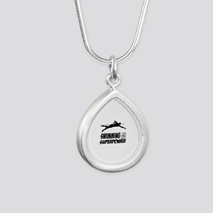 swimming is my superpower Silver Teardrop Necklace