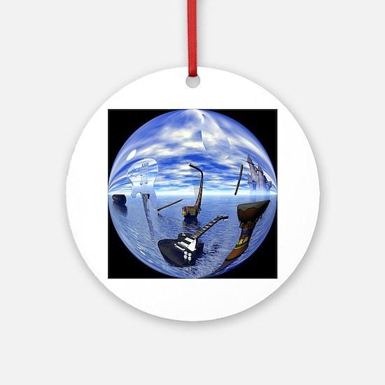 2-boatguitarModClock Round Ornament