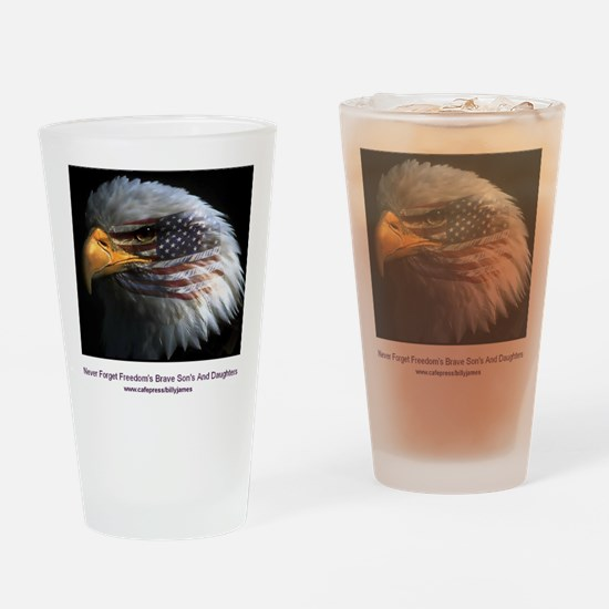 2-eagle with text Drinking Glass