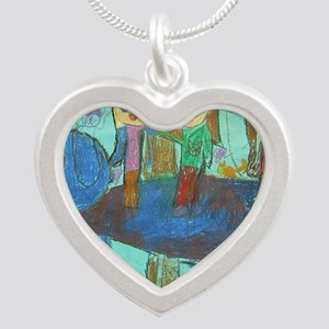 girls on elephant Silver Heart Necklace