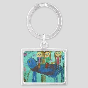 girls on elephant Landscape Keychain