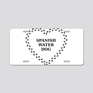 spanish water dog paw heart Aluminum License Plate