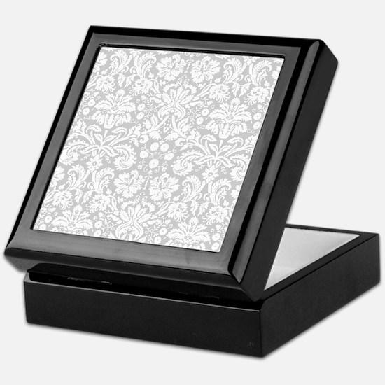 Grey damask pattern Keepsake Box