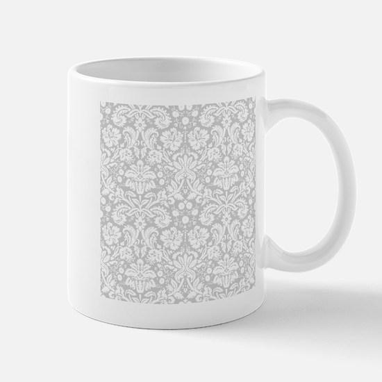 Grey damask pattern Mugs