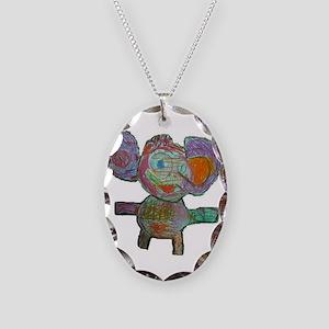 elephant2 Necklace Oval Charm