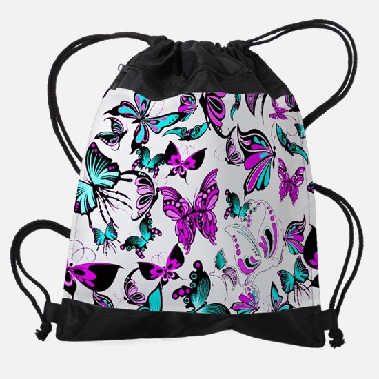 Teal and purple butterflies Drawstring Bag