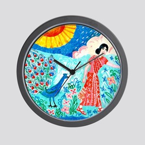 woman_and_peacock Wall Clock