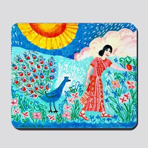 woman_and_peacock Mousepad
