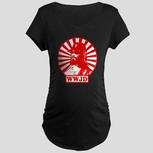 WWJWD new red wht Maternity Dark T-Shirt