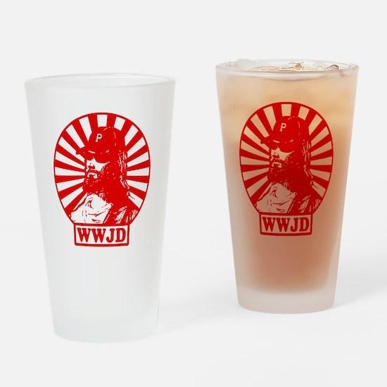 WWJWD new red wht Drinking Glass