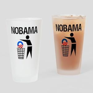 NoBama-(trash)-white-shirt Drinking Glass