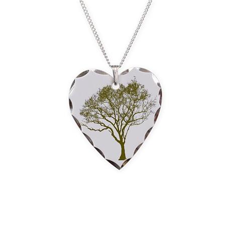 Green Tree Necklace Heart Charm