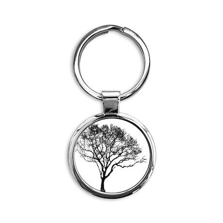 Black Tree Round Keychain
