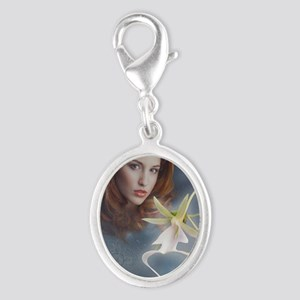 Ghost Orchid Greeting Card Silver Oval Charm