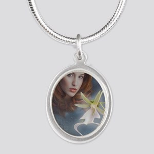 Ghost Orchid Greeting Card Silver Oval Necklace
