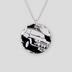 Black and White Mini Necklace Circle Charm
