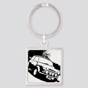 Black and White Mini Square Keychain