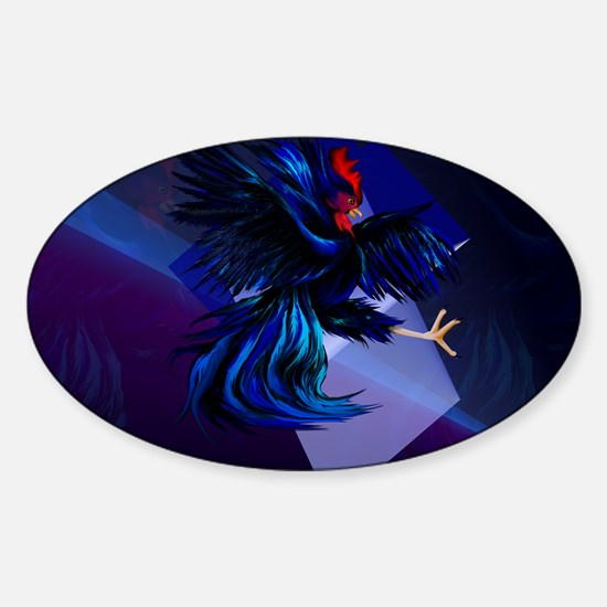 Black Fighting Rooster-Yardsign Sticker (Oval)