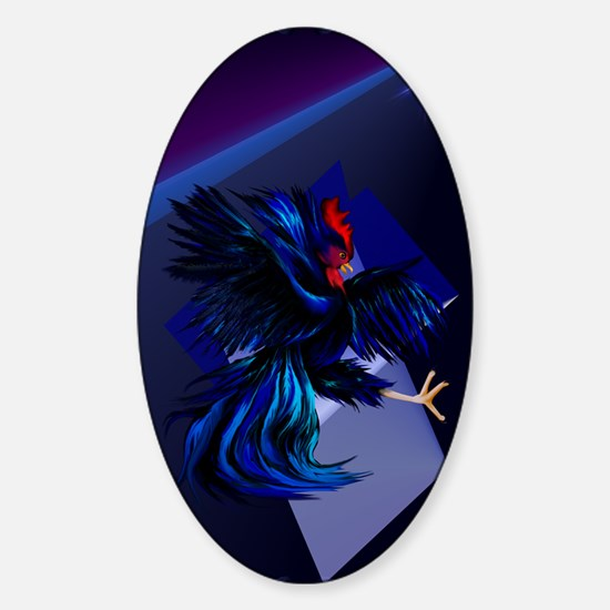 Black Fighting Rooster_journal Sticker (Oval)