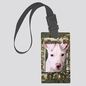 French_Quarters_Pitbull_Pup_Dad Large Luggage Tag