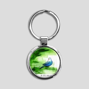 3-5x5 bird 3 Round Keychain