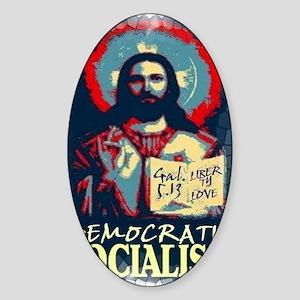 Jesus dem soc LG Gal 513 st glas Sticker (Oval)