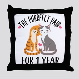 1st Anniversary Cat Couple Throw Pillow