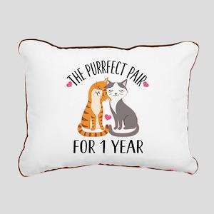 1st Anniversary Cat Couple Rectangular Canvas Pill