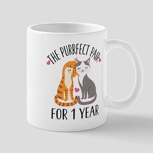 1st Anniversary Cat Couple Mugs