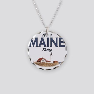 Its a Maine Thing Lighthouse Necklace Circle Charm