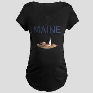 Its a Maine Thing Lighthous Maternity Dark T-Shirt