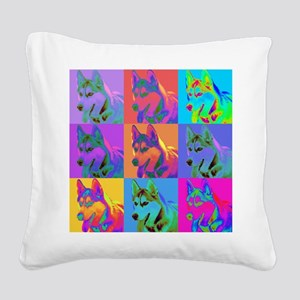 Op Art Husky Square Canvas Pillow