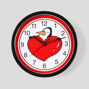 Valentine Penguin Wall Clock