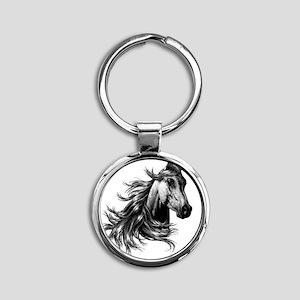 2-WILD HORSE Round Keychain