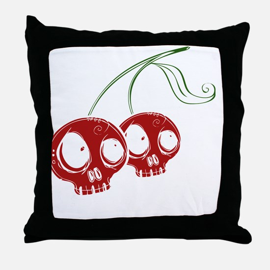 cherryskulls2 Throw Pillow
