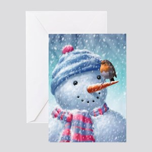530 Snowman and Robin Greeting Cards