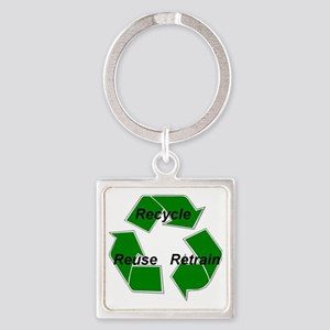 recycle w graphics 1 Square Keychain