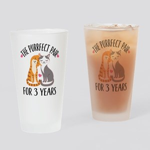 3rd Anniversary Gift Cat Couple Drinking Glass