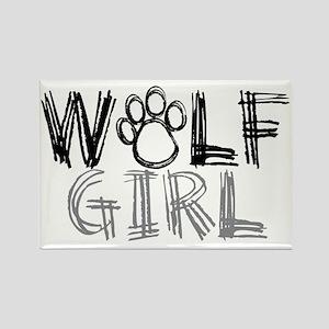 wolf-girl-lights Rectangle Magnet