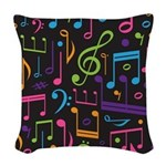 Colored Music Notes Choir Band Woven Throw Pillow