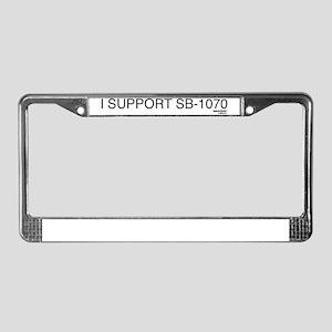 I support sb1070 on white License Plate Frame