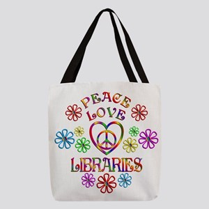 Peace Love Libraries Polyester Tote Bag