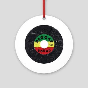 Reggae Record - Scratch Texture Round Ornament