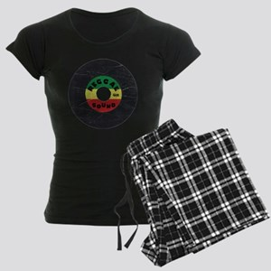 Reggae Record - Scratch Text Women's Dark Pajamas