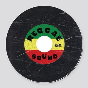 Reggae Record - Scratch Texture Round Car Magnet