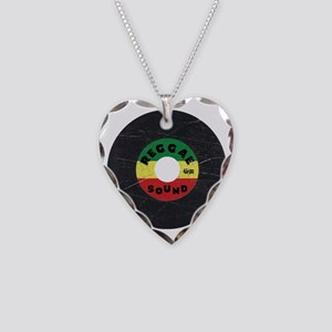 Reggae Record - Scratch Textu Necklace Heart Charm
